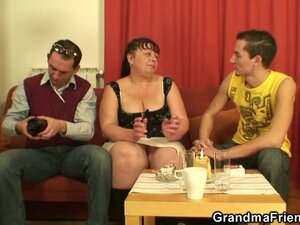 Two guys interview and fuck fatty