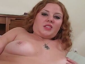 Cute redhead spreading her hairy pussy