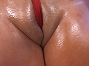 In sexy red thong she gets fucked hard