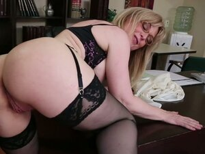 Horny milf  Nina Hartley goes wild with young guy