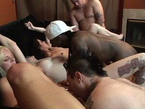 Sizzling Interracial Orgy with Fiery Babes