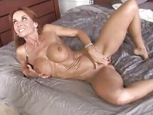 Skinny brunette milf with big tits gets covered with black dicks cum