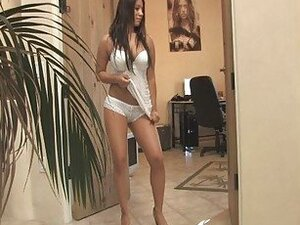 Marie busty brunette girl getting naked and flashing tits and pussy