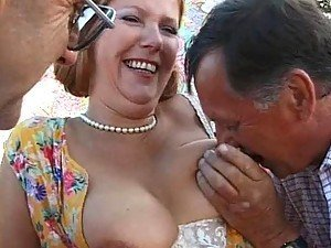 Old Mature Threesome Sex With Fatty Getting Cum On Face