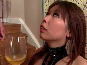 Bound Asian cum slut drinks his piss