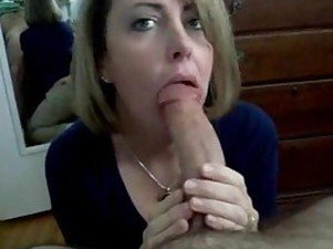 Milf sucks his dick and swallows his cum