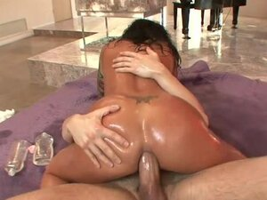 Oiled Mason Moore rides her tight ass on this hard dick