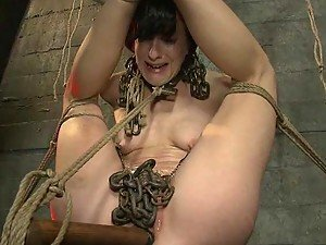 Extreme Toying For Brunette Girl in BDSM Vid