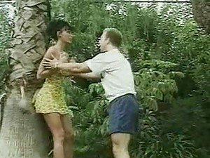 Jungle babe is saved by a stud and gives him her pussy