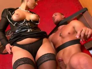 Hot femdom slut fucked by fetish cock on a tight leash