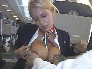Sucking his cock on an airplane