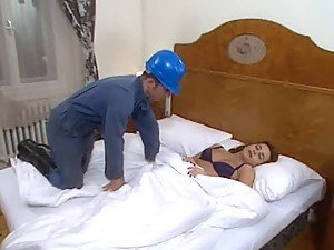 Two repairmen fondle and fuck Sleeping Beauty in her room