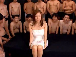 Japanese hottie Chihiro Akino fucks many guys and gets a bukkake