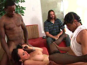 Busty brunette in nasty gang bang