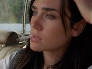 Green Eyed Jennifer Connelly Washing Herself In a Public Bathroom