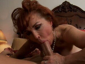 Voracious granny Vanessa deepthroat sucking and riding cock