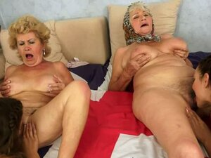 Unbelievable Lesbian Foursome with Two Teens and Two Grannies
