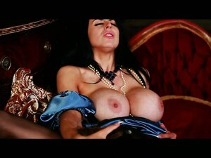 Titties-caressing action scene with beautiful woman in soft, silken robe