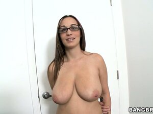 Once naked and posing, she gets them big boobs squeezed and holds them