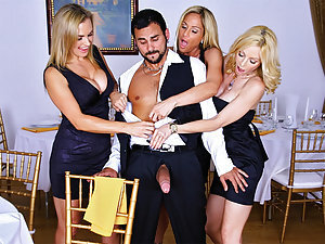 Tyler, Holly and Tanya were just wrapping up a great dinner and finishing up dessert when Holly kind of noticed a bulge while staring at the waiter and focusing mostly on his pants. Tanya dared her to just reach out and grab it after constantly flirting w