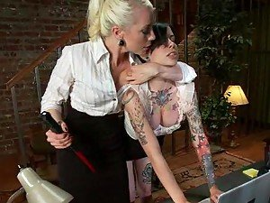 Kinky Blonde Boss Fisting Her Brunette Secretary's Pussy in Sex Dungeon