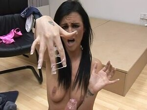 Babe punishes guy with harsh handjob