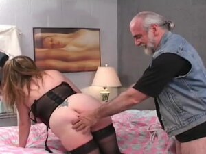 Busty babe being humiliated by an old fart