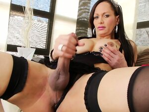 Solo shemale in lingerie masturbating stroking her tits