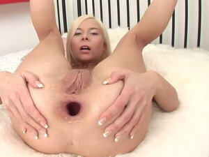 Horny Blonde Toying Her Shaved Pussy and Tight Asshole