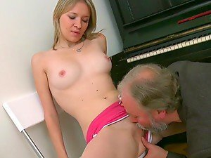 Busty and horny babe Maya gets fucked by two during the piano class