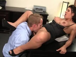 Hardcore office sex with a fake tits slut