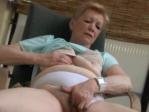 Granny panties on old lady masturbating outdoors
